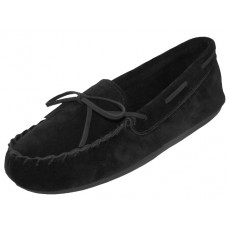 "W080003-B Whlesale Women's ""EasyUSA"" Insulated Leather Upper Moccasins Shoes ( *Black Color )"