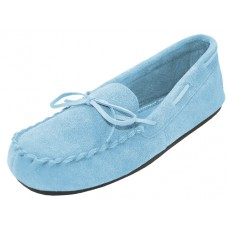 "W080003-Blue Wholesale Women's ""EasyUSA"" Insulated Leather Upper Moccasins Shoes ( *Light Blue Color )"