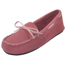 "W080003-P Wholesale Women's ""EasyUSA"" Insulated Leather Upper Moccasins Shoes ( *Pink Color )"