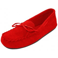 "W080003-R Wholesale Women's ""EasyUSA"" Insulated Leather upper Moccasins Shoes ( *Red Color )"