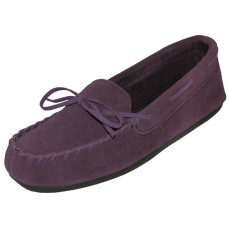 W080003-Purple Wholesale Women's Insulated Leather Upper Moccasins House Slipper ( *Purple Color )