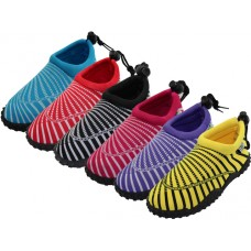 "W1177L-A - Wholesale Women's ""Wave"" Sea Shell Print ""Wave"" Water Shoes ( *Asst. Purple, Red, Yellow, Blue, Black & Fuchsia )"