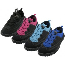 "W1188L-A - Wholesale Women's ""Wave"" Lace Up Sport Water Shoes ( *Asst. All lack, Black/Royal Blue, Black/Fuchsia And Black/Blue ) *Available In Single Size"