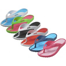 W2230L-A - Wholesale Women's Sport 2 Tone Colors Soft Comfort Rubber Thong Sandals ( *Asst. 6 Color )