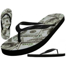 "W2250 - Wholesale Women's ""EasyUSA"" US Dollars Print On Top Flip Flop Sandals ( * Black Out Sole )"