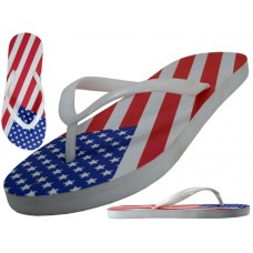 "W2270 - Wholesale Women's ""EasyUSA"" US Flag Printed Fip Flops Sandals"