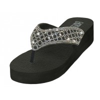 "W322L-BW Wholesale Women's ""EasyUSA"" Rhinestone Upper Sandals ( Black/White Color )"