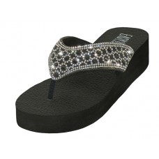 "W322L-B/W Wholesale Women's ""EasyUSA"" Rhinestone Upper Wedge Sandals ( *Silver/Black Color )"