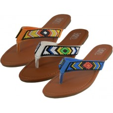 W3816L-A - Wholesale EasyUSA Women's Beaded Patterns Flip Flops ( *Asst. Black Coral & denim )