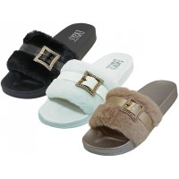 S4114L-A Wholesale Women's Faux Fur With Rhinestone Buckle Upper Open Toe Slide Sandals ( *Asst. Black. White & Gold )