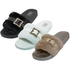 "S4114L-A Wholesale Women's ""EasyUSA"" Faux Fur With Rhinestone Buckle Upper Open Toe Slide Sandals ( *Asst. Black. White & Gold )"