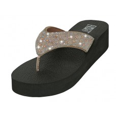 "W422L-RG - Wholesale Women's ""EasyUSA"" Rhinestone Upper Wedge Sandals ( *Rose Gold Color )"