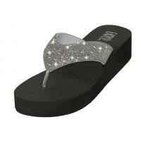 "W422L-S Wholesale Women's ""EasyUSA"" Rhinestone Upper Wedge Sandals ( *Silver Color )"
