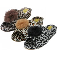 W5110-A - Wholesale Women's Open Toe Satin Velour Leopard Print House Slippers ( *Asst. Black And Gold )