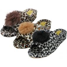 W5110-A - Wholesale Women's Satin Velour Leopard Print Upper Open Toe House Slippers ( *Asst. Black Leopard, Beige Leopard & Brown Leopard)