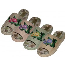 W5160-A -Wholesale Women's Cloth Open Toes Flower Embroidery Upper House Slippers ( *Asst. Green, Dk. Beige, Pink And Lt. Blue )