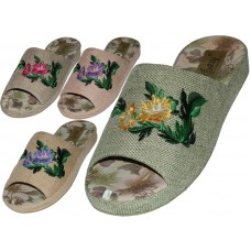 W5160-A -Wholesale Women's Satin Open Toes Flower Embroidery Upper House Slippers ( *Asst. Green, Dk. Beige, Pink And Lt. Blue )