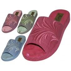 W5170-A - Wholesale Women's Satin Open Toes Floral Embroidery Upper House Slippers ( *Asst. Purple, Red, Blue And Green )
