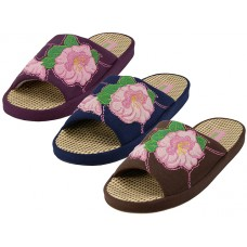 W5180-A - Wholesale Women's Cloth Flower Embroidery Upper Open Toe  House Slippers ( *Asst. Navy, Brown And Purple )