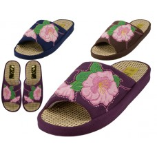 W5180-A - Wholesale Women's Satin Flower Embroidery Upper Open Toe  House Slippers ( *Asst. Navy, Brown And Purple )