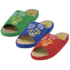 W5190-A - Wholesale Women Cloth Open Toe Flower Embroidery Upper House Slippers ( *Asst. Navy. Green And Red )