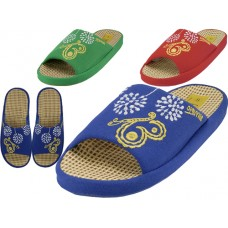 W5190-A - Wholesale Women Satin Open Toe Flower Embroidery Upper House Slippers ( *Asst. Navy. Green And Red )