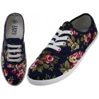 "W5205 - Wholesale Women's ""EasyUSA"" Canvas Lace Up Shoes ( *Navy Roses Print ) *Last 3 Case"