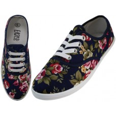 W5205 - Wholesale Women's Canvas Lace Up Shoes ( *Navy Roses Print )