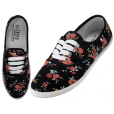 W5208 - Wholesale Women's Canvas Lace Up Shoes ( *Black Mini Rose Printed )