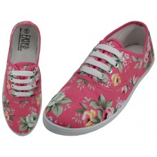 W5209 - Wholesale Women's Canvas Lace Up Shoes ( *Fuchsia Floral Printed )