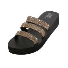 "W522L-RG - Wholesale Women's ""EasyUSA"" Rhinestone Upper Wedge Sandals ( *Rose Gold Color )"