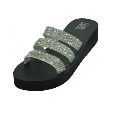 "W522L-S - Wholesale Women's ""EasyUSA"" Rhinestone Upper Wedge Sandals ( *Silver Color )"