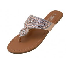 W5222L-RG - Wholesale Women's Rhinestone Upper Sandals ( *Rose Gold  Color )