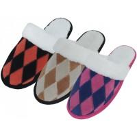 W5299 - Wholesale Women's Diamond Pattern Leather Patch Upper With Fur Cuff House Slippers. ( **Asst. Fuchsia/Black, Purple/Black & Brown/Beige )