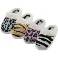 W530L-T - EasyUSA Women's Close Toe Plush With Faux Fur Cuff House Slippers ( *Asst. Leopard, Bear, Tiger & Zebra Print )