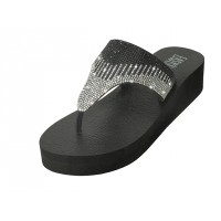 "W533L-BS - Wholesale Women's ""EasyUSA"" Rhinestone Upper Wedge Sandals ( *Black/Silver Color ) *Last 5 Case"