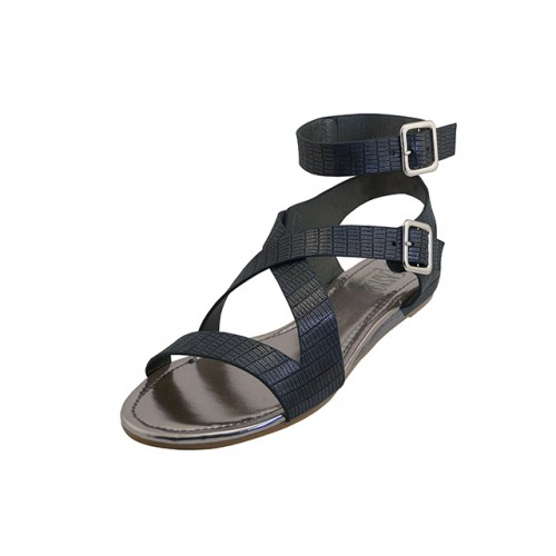 681651ae487 W5601L-B - Wholesale Women s Ankle Height Cross Strap Sandals (  Black  Color )