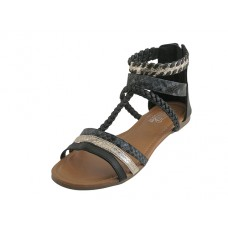 W5701L-B - Wholesale Women's Braided Gladiator Sandals ( *Black Color )