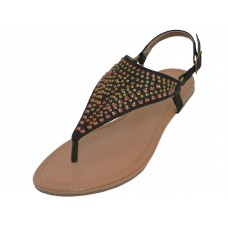"W6100L-B Wholesale Women's ""EasyUSA"" Studded Thong Sandals (*Black Color ) *Close Out For $3.50/Prs Case $63.00"