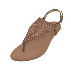 W6100L-Z  Wholesale Woman's Studded Thong Sandals ( *Bronze Color  )
