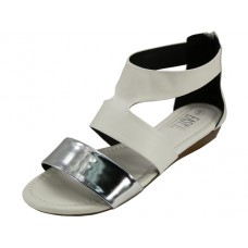 W6200L-W Wholesale Women's Metallic Strip With Back Zipper Sandals ( *White Color )