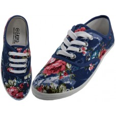 W6204 - Wholesale Women's Canvas Shoes ( *Blue Flower Print )