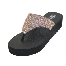 "W622L-RG -  Wholesale Women's ""EasyUSA"" Rhinestone Upper Wedge Sandals ( *Rose Gold Color )"