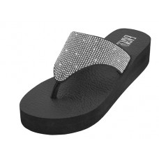 "W622L-S - Wholesale Women's ""EasyUSA"" Rhinestone Upper Wegde Sandals ( *Silver Color )"