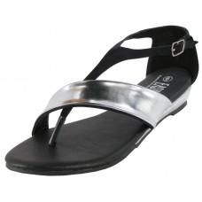 W6300L-B Wholesale Women's Metallic Strip Thong Sandals With Back Zipper ( *Black Color )