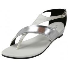 W6300L-W Wholesale Women's Metallic Strip Thong Sandals With Back Zipper ( *White Color )