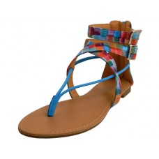 W6400L-Multi - Wholesale Woman's Gladiator Cross Trap Thong Sandals ( *Multi Color )