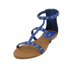 W6500L-BLUE - Wholesale Woman's Braid Gladiator Sandals ( *Blue Color )