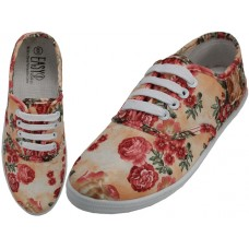 W6502 - Wholesale Women's Canvas Lace Up Shoes ( *3D Beige Rose Printed )