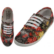 W6503 - Wholesale Women's Canvas Lace Up Shoes ( *3D Black Rose Printed )